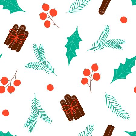 Seamless pattern with Christmas elements. Design for wallpaper, gift, printable repeat background. Vector Illustration Ilustracja
