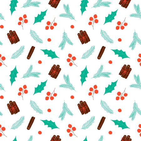 Seamless pattern with Christmas elements. Design for wallpaper, gift, printable repeat background. Vector Illustration Illustration