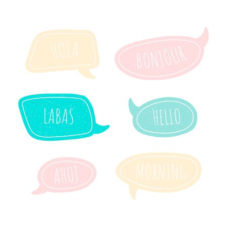 Set of speech talk bubble template. Isolated chat icon with texture and word hello. Hand drawn comic, retro speak cloud. Vector Illustration