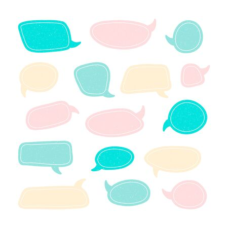 Set of speech talk bubble template. Isolated chat icon with texture. Hand drawn comic, retro speak cloud. Vector Illustration