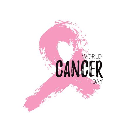 Isolated splatter like symbol of World Cancer Day. National holiday. Pink paint hand drawn. Vector Illustration