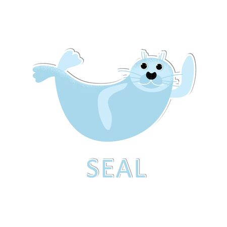 Isolated seal animal laying and waving. Vector cute character. Ocean lion in modern flat style. Wildlife underwater kid. Illustration