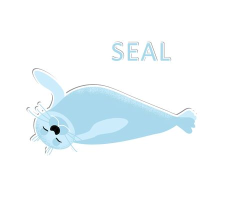 Isolated seal animal relaxing and sleeping. Vector cute character. Ocean lion in modern flat style. Wildlife underwater kid. Illustration