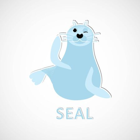 Isolated seal animal sitting and waving. Vector cute character. Ocean lion in modern flat style. Wildlife underwater kid. Illustration