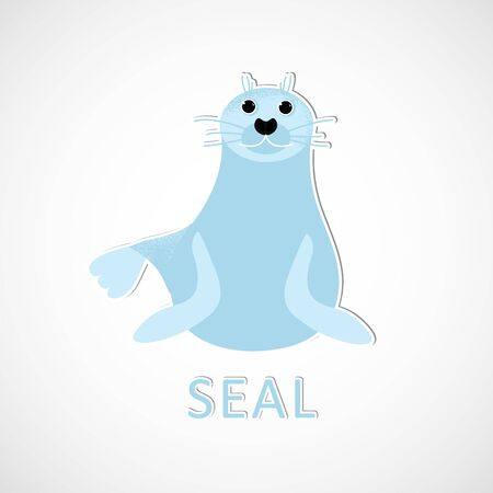 Isolated seal animal smiling. Vector cute character. Ocean lion in modern flat style. Wildlife underwater kid. Illustration