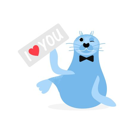 I love you. Cute cartoon blue seal  gentleman. Sea character vector illustration with heart. Emoji. Smiling Face seal with tablet I love you Ilustracja