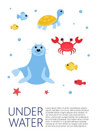 Underwater banner with fishes, seal, turtle, star and ware in modern flat style. Ocean animal character. Isolated cute cartoon animal with plants. Vector Illustration design