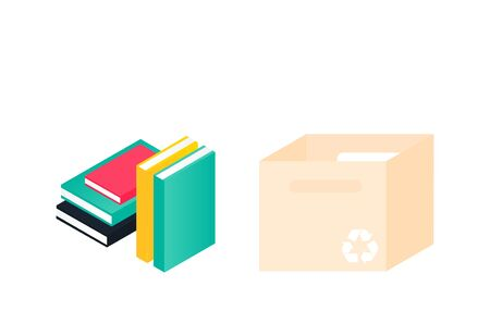 Donation box and pile of books. Charity recycle gift. Used book and  paper box concept. Vector Illustration Ilustracja