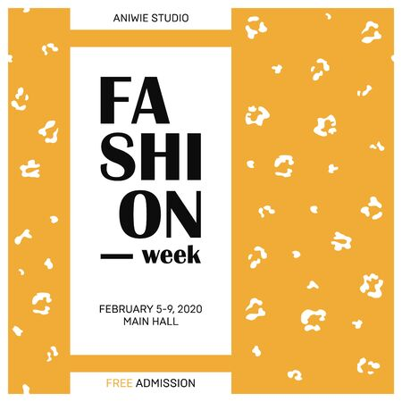 Fashion concept poster with leopard print. Card template. Modern invitation poster with skin texture. Vector Illustration