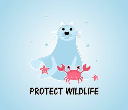 Protect Wildlife  template card. Cartoon seal with crab in the Ocean. Ecological concept, ocean pollution, environmental protection, saving the planet