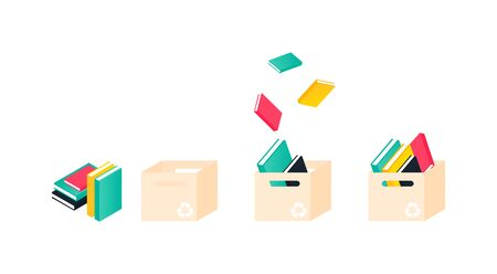 Donation box with books. Charity recycle gift. Collectinf process. Vector Illustration