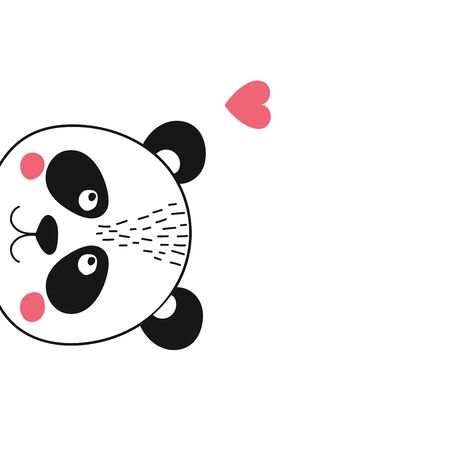 Isolated cute panda face with heart  peeping to the left. Bear animal in scandinavian style for baby shower card, birthday, poster. Print illustration in vector Ilustracja