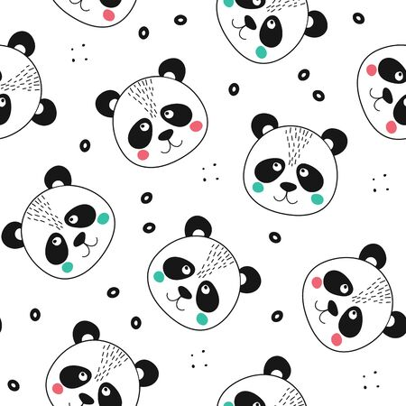 Seamless pattern with cute panda face. Animal in scandinavian style for baby shower card, birthday, poster, texture. Print illustration in vector Ilustracja