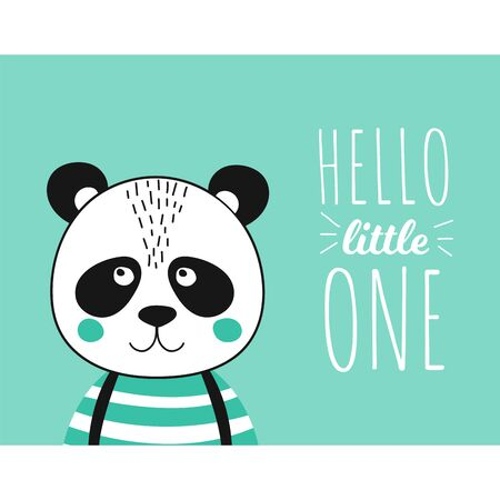 Template poster with cute panda gentleman for baby shower card, birthday. Print illustration in vector. Bear concept