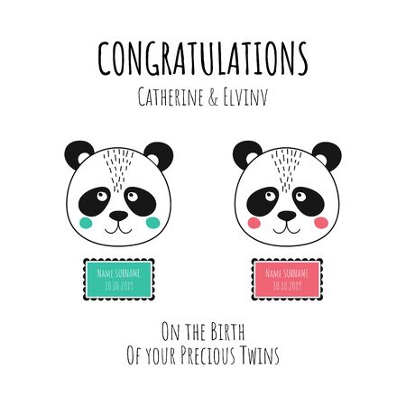 Invitation poster concept for Baby Shower twins celebration party. Vector illustration with baby panda. Fun quote hipster design or label Illustration