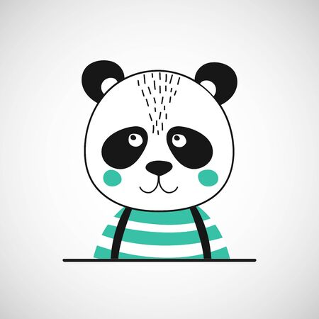 Isolated cute panda gentleman. Bear.  Animal in scandinavian style for baby shower card, birthday, poster. Print illustration in vector