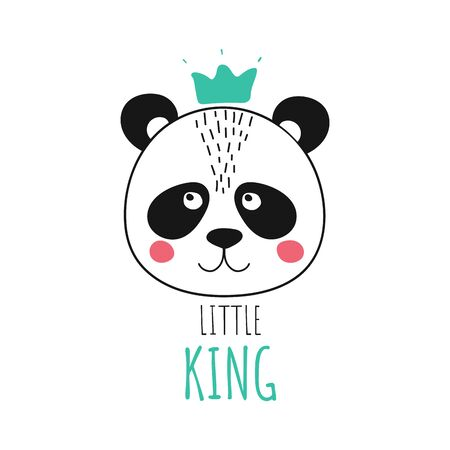 Isolated cute panda with crown. King animal in scandinavian style for baby shower card, birthday, poster. Print hand drawn illustration in vector