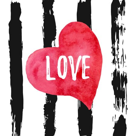 Watercolor red heart with word Love on striped black background. Card holiday template. Hand drawn symbol. Vector Illustration