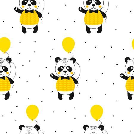 Seamless pattern with panda waving and ballon. Cute kawaii animal. Printable texture. Background for card, banner, flyer, fabric print. Vector Illustration