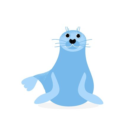Isolated seal animal laying and smiling. Vector cute character. Ocean lion in modern flat style. Wildlife underwater kid. Illustration Illustration