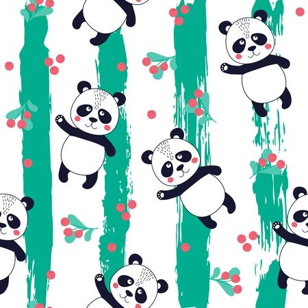 Seamless pattern with cute panda with fruits on striped background. Printable texture. Background for card, banner, flyer, fabric print. Vector Illustration Ilustracja