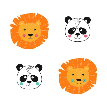 Isolated baby lion and panda face like girl and boy. Cute character for baby shower holiday. Vector Illustration