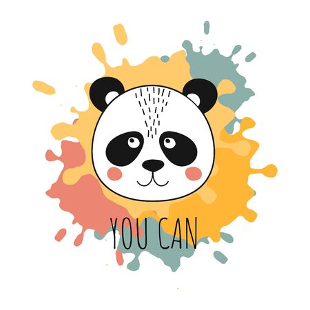 Quote You Can. Cute panda face on hand drawn design elements with inks. Template card for birthday, baby shower gift. Vector Illustration Ilustracja