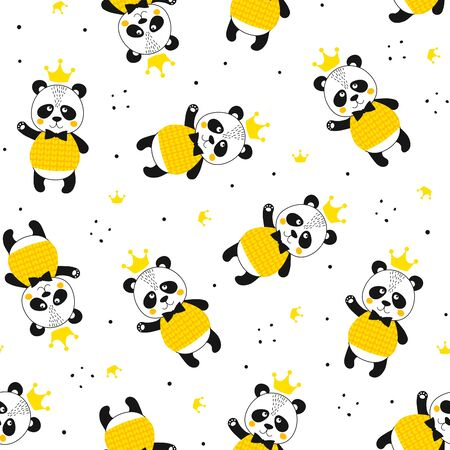 Seamless pattern with panda and crown. Cute kawaii animal. Printable texture. Background for card, banner, flyer, fabric print. Vector Illustration
