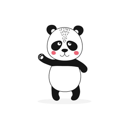 Isolated cute panda character waving. Funny kid animal in scandinavian style. Kawaii wild bear for baby shower party, holiday, poster, card. Vector Illustration Ilustracja