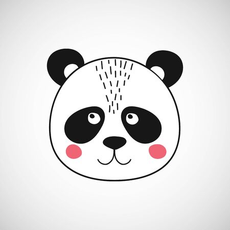 Isolated cute panda face. Bear animal in scandinavian style for baby shower card, birthday, poster. Print illustration in vector Ilustracja
