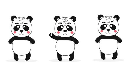 Set of isolated cute panda character and different emotions. Asian bear. Kawaii animal for poster, diploma, birthday elements. Vector Illustration Ilustracja