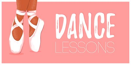 Template dance lessons poster with ballerina pointe shoes on pink background. Printable card for ballet class, studio, add. Vector Illustration Ilustracja