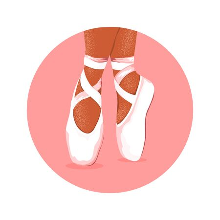 Isolated ballerina pointe shoes in pink circle. Icon for ballet class. Studio design. Vector Illustration Ilustracja