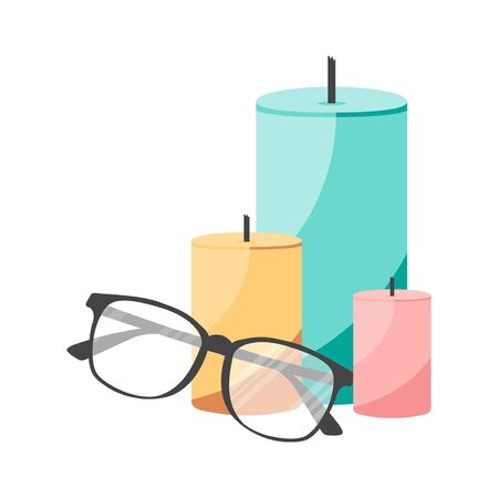 Isolated flat candles and glasses. Concept for aroma relax salon for poster, template, card, print. Vector Illustration Imagens - 137868901