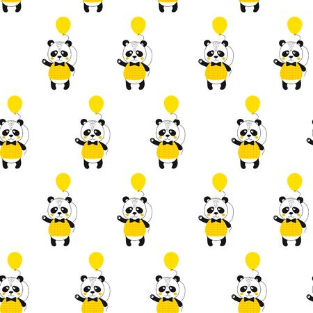 Seamless pattern with panda and ballon. Cute kawaii animal. Printable texture. Background for card, banner, flyer, fabric print. Vector Illustration