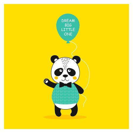 Quote Dream big little one with cute panda bear. Animal gentleman character with ballon concept for baby shower card, birthday, poster. Print hand drawn illustration in vector 일러스트
