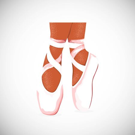 Isolated ballerina pointe shoes. Icon for ballet class, dance lessons. Studio design. Vector Illustration