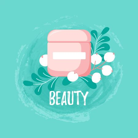 Template with skin cream with cute fruits and spring leaves on circle ink background. Skincare poster for cosmetics shop, social media in cartoon style. Vector Illustration