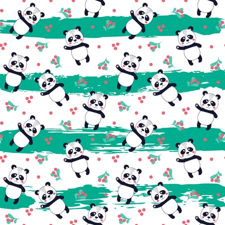 Seamless pattern with cute panda with fruits on striped background. Printable texture. Background for card, banner, flyer, fabric print. Vector Illustration Ilustrace