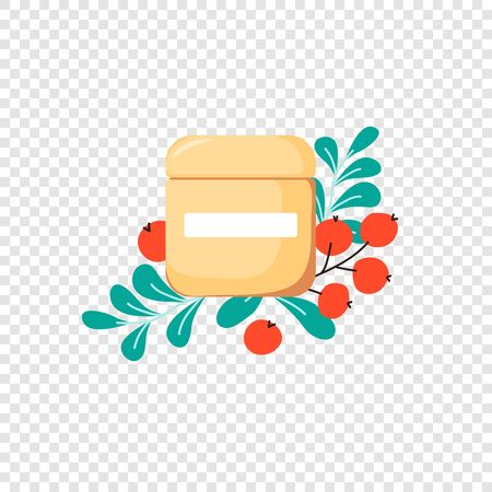 Isolated skin cream with cute fruits and spring leaves on transparent background. Skincare composition for cosmetics shop, social media in cartoon style. Vector Illustration