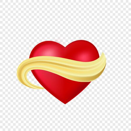 Isolated realistic red heart with golden brush stroke. Gold abstract flow with love symbol on transparent background. Vector Illustration for design concept
