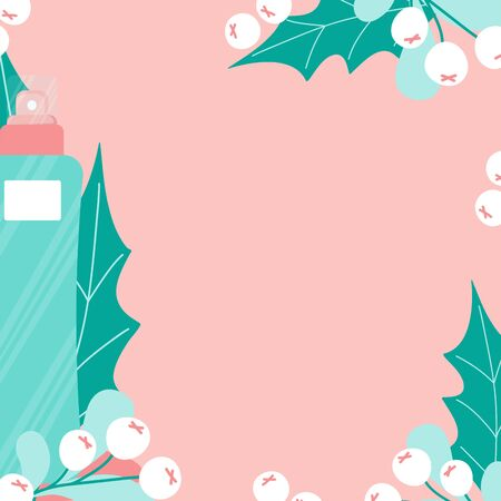 Background template for cosmetics ad in cartoon style. Skincare lotion with leaf and fruits. Toner cleancer on pink. Vector Illustration