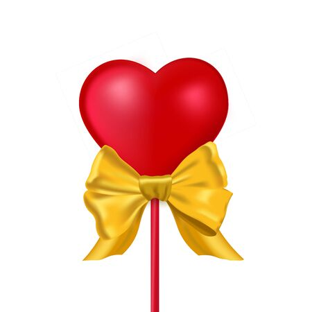 Isolated 3d heart with gold bow. Realistic red love symbol on transparent background. Vector Illustration
