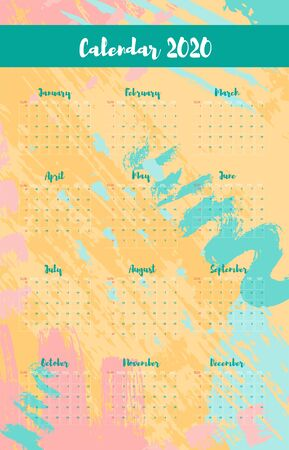 Calendar printable A4 grid 2020. Minimal annual vertical template planner. Memphis background with hand drawn paint objects. Vector Illustration 向量圖像