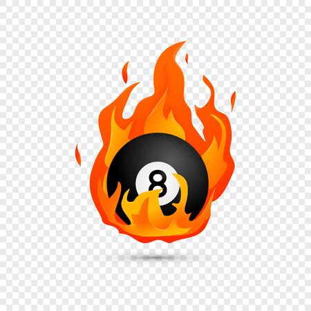 Flying black billiard eight ball in fire isolated in modern flat style. Pool or snooker ball with number 8 on transparent background. Vector Illustration