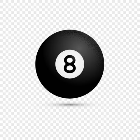Isolated black billiard eight ball  in modern flat style. Pool or snooker ball with number 8 on transparent background. Vector Illustration