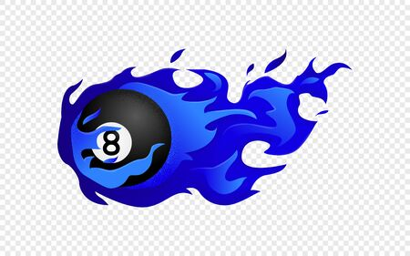 Flying black billiard eight ball in blue fire isolated in modern flat style. Pool or snooker ball with number 8 on transparent background. Vector Illustration