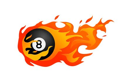 Flying black billiard eight ball in fire isolated in modern flat style. Pool or snooker ball with number 8 on white background. Vector Illustration