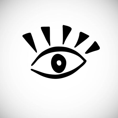Isolated cute scandinavian eye. Doodle hand drawn sketch wink symbol. Trendy minimal open human eye. Vector Illustration Vetores