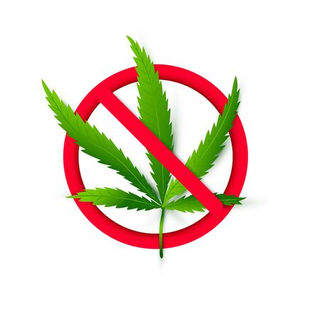Isolated red prohibited sign with realistic cannabis or marijuana leaf. Hemp plant. Smoke grass illegal concept. Vector Illustration